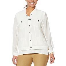 """""""As Is"""" WynneLayers Jean-Style Chiffon Jacket"""