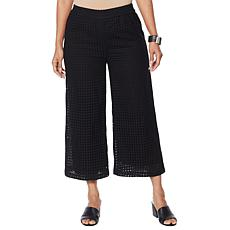 """As Is"" WynneLayers Lined Eyelet Pull-On Crop Pant"