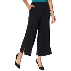 """As Is"" WynneLayers Pull-On Knit Wide Leg Crop Pant"