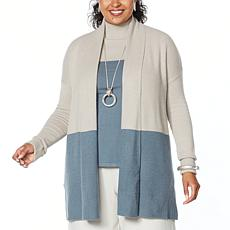 """""""As Is"""" WynneLayers Soft Knit Colorblocked Cardigan"""