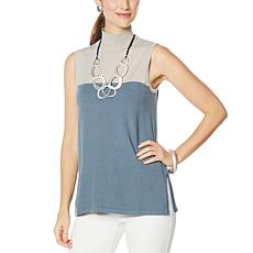 """As Is"" WynneLayers Soft Knit Sleeveless Colorblock Tunic"