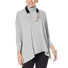 """As Is"" WynneLayers Unstructured Turtleneck Poncho Top"