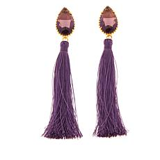 Asa Jewelry Colored Stone Fabric Tassel Earrings