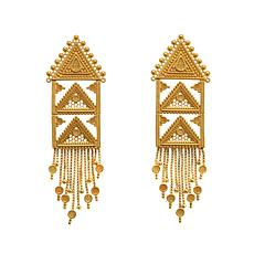 Asa Jewelry Goldtone Triangular Fringe Dangle Earrings