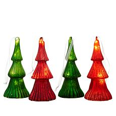 august & leo 4-pack Mercury Glass Christmas Trees with Timer