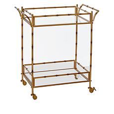 august & leo Bamboo Bar Cart with Glass Shelves