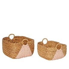 august & leo Set of 2 Water Hyacinth Baskets