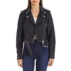 Avec Les Filles Cropped Lamb Leather Biker Jacket