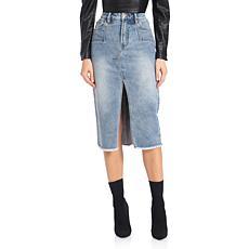 Avec Les Filles Denim Pencil Skirt - Sedona Blue