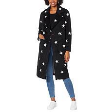 Avec Les Filles Double Face Star-Print Raglan Coat