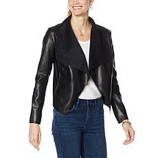 Avec Les Filles Faux Leather Draped Jacket