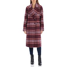Avec Les Filles Plaid Double Face Wool Blend Coat - Pink/Burgundy