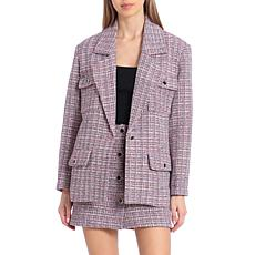 Avec Les Filles Single-Breasted Tweed Blazer - Pink Multi