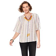 B Collection by Bobeau Boho Blouse with Tassel Trim