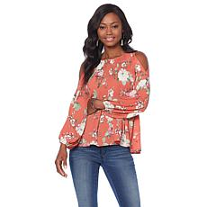 B Collection by Bobeau Crinkle Cold Shoulder Blouse