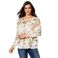 B Collection by Bobeau Floral Layered French Terry Top