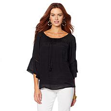 B Collection by Bobeau Papaya Gauze Off-the-Shoulder Top