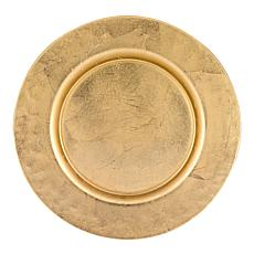 "Badash Glamour Gold 13"" Handmade Glass Charger with Gold Finish"