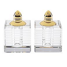 Badash Pinstripes Gold Lead-Free Crystal Salt & Pepper Shakers