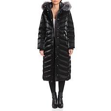 Badgley Mischka Iridescent Maxi Puffer Jacket