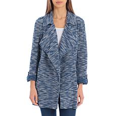 Bagatelle Collection Tweed Knit Drape Jacket - Blue