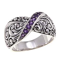 Bali Designs 0.3ctw Amethyst Sterling Silver Ring