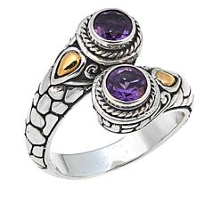 Bali Designs 0.78ctw Round Amethyst Bypass Ring
