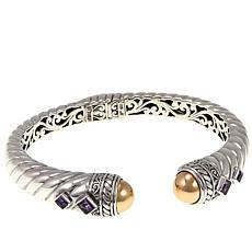 Bali Designs 0.86ctw Amethyst 2-Tone Hinged Cuff Bracelet