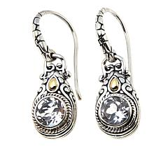 Bali Designs 1.8ctw  Round White Topaz Drop Earrings