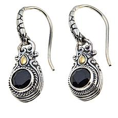 Bali Designs 1.92ctw  Round Black Spinel Drop Earrings