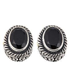 Bali Designs 2-Tone 3.06ctw Black Spinel Oval-Design Stud Earrings