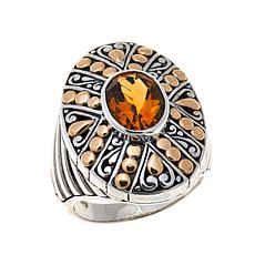 Bali Designs 2.1ct Citrine and Scrollwork 2-Tone Ring