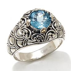 Bali Designs 2.1ctw Blue Topaz 2-Tone Scallop Ring