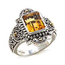 Bali Designs 2.36ctw Emerald-Cut Citrine 2-Tone Ring