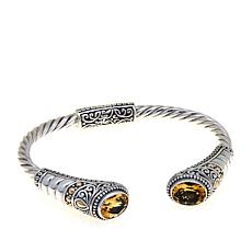 Bali Designs 3.6ctw Oval Citrine Cuff Bracelet