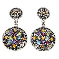 Bali Designs 3.82ctw Multigemstone Medallion Earrings