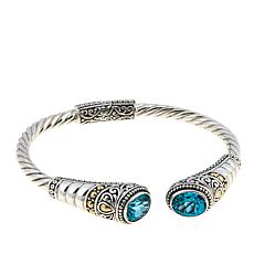 Bali Designs 3.82ctw Paraiba-Color Quartz Cable Bangle Bracelet
