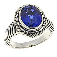 Bali Designs 4ct Created Blue Sapphire Sterling Silver Cable Ring