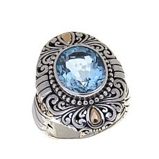 Bali Designs 4ct Oval Sky Blue Topaz Ring