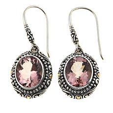 Bali Designs 6.7ctw Morganite-Color Quartz Srollwork Drop Earrings
