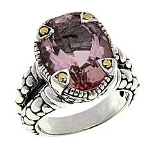 Bali Designs 7.4ct Morganite-Color-Coated Quartz Cobblestone Ring