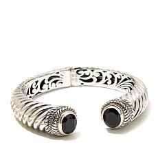 Bali Designs 8.7ctw  Black Spinel 2-Tone Bangle