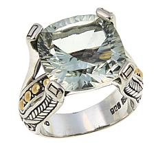 Bali Designs 9.56ct Laser-Cut Cushion Prasiolite Ring