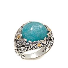 Bali Designs Amazonite 2-Tone Sterling Silver Ring
