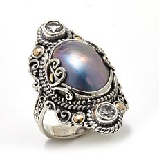 Bali Designs Blue Mabé Pearl and Gem 2-Tone Ring