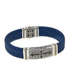 "Bali Designs ""BroManse"" Cross & Blue Leather Bracelet"