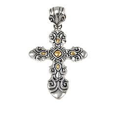 Bali Designs by Robert Manse Sterling Silver & 18K Gold Cross Pendant
