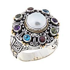 Bali Designs Cultured Freshwater Pearl & Gem Ring