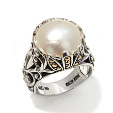 Bali Designs Mabé Pearl 2-Tone Scrollwork Ring