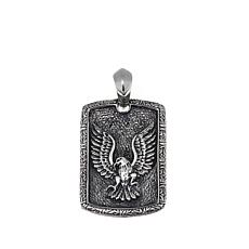 Bali Designs Men's Carved Eagle Dog Tag Pendant